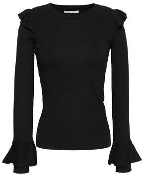 Alice + Olivia Ruffle-trimmed Ribbed-knit Top