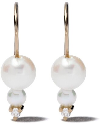 Mizuki 14kt gold Sea of Beauty double akoya pearl diamond earrings