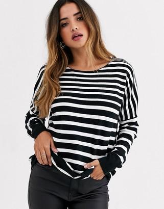 French Connection stripe boatneck jumper-Black