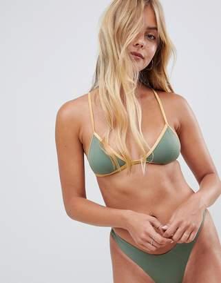 Free Society Free society khaki & gold elastic triangle bikini top-Green