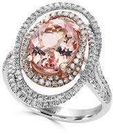 Effy Blush 0.83 TCW Diamonds, Morganite, 14K White Gold and 14K Rose Gold Ring