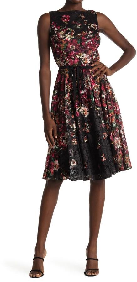 Gabby Skye High Neck Floral Print Dress