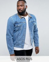 Asos PLUS Denim Jacket with Leopard Print Collar and Stud Detail in Blue Wash
