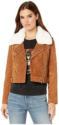 Blank NYC Real Suede Moto Jacket in Alder (Camel) Women's Clothing