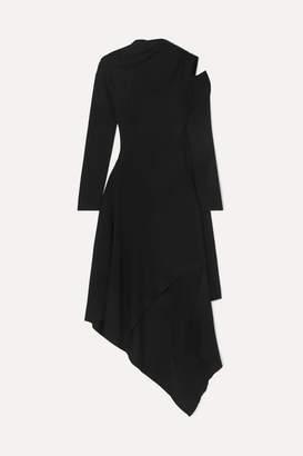 Monse Asymmetric Cutout Merino Wool Dress - Black