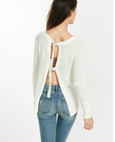 Express shaker knit open back sweater