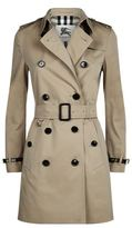Burberry Kensington Leather Trim Mid-Length Trench Coat