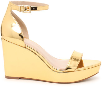Mix No. 6 Women's Sahi Wedges Sandals Gold Metallic Size 5 Synthetic From Sole Society