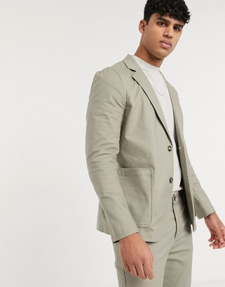 ASOS DESIGN two-piece skinny casual cotton blazer with square pockets in khaki