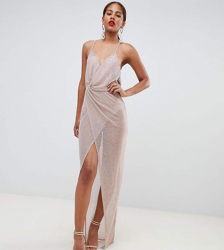 Asos Tall DESIGN Tall metallic sheer maxi dress