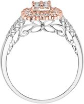Simply Vera Vera Wang Diamond Scalloped Halo Engagement Ring in 14k White & Rose Gold (5/8 ct. T.W.)