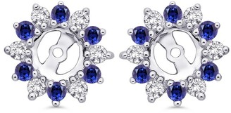 Shah Diamonds 14k White Gold 2ct TDW Diamond and Blue Sapphire Starburst Earring Jackets