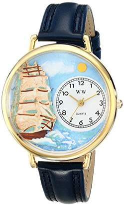 Whimsical Watches Sailing Navy Blue Leather and Goldtone Unisex Quartz Watch with White Dial Analogue Display and Multicolour Leather Strap G-0810001