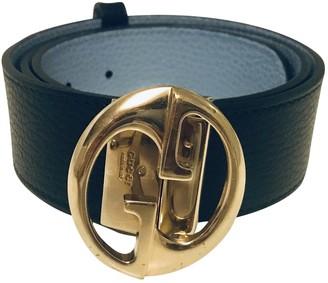 Gucci Interlocking Buckle Navy Leather Belts