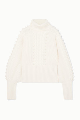 Temperley London Chrissie Cable-knit Merino Wool Turtleneck Sweater - Ivory