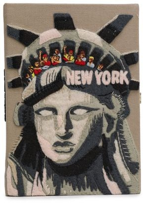 Olympia Le-Tan New York Appliqued Embroidered Canvas Clutch
