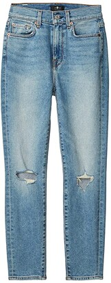 7 For All Mankind The High-Waist Ankle Skinny in Rose Avenue Destroyed (Rose Avenue Destroyed) Women's Jeans