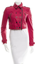 Burberry Cropped Leather Moto Jacket