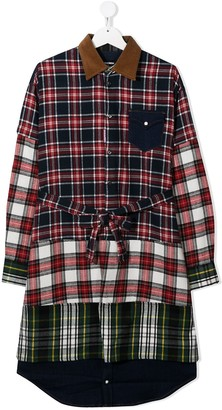DSQUARED2 TEEN plaid patchwork shirt dress