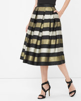 White House Black Market Stripe Pleated Taffeta Midi Skirt