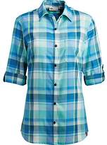 Dickies Women's Plus Size Quarter Sleeve Roll-up Plaid Shirt