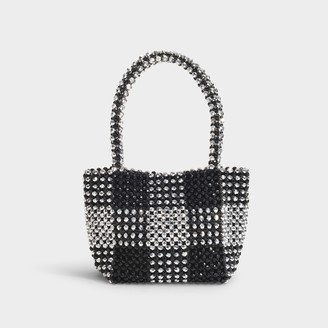 Loeffler Randall Mina Beaded Mini Tote In Black And Silver Synthetic Beads
