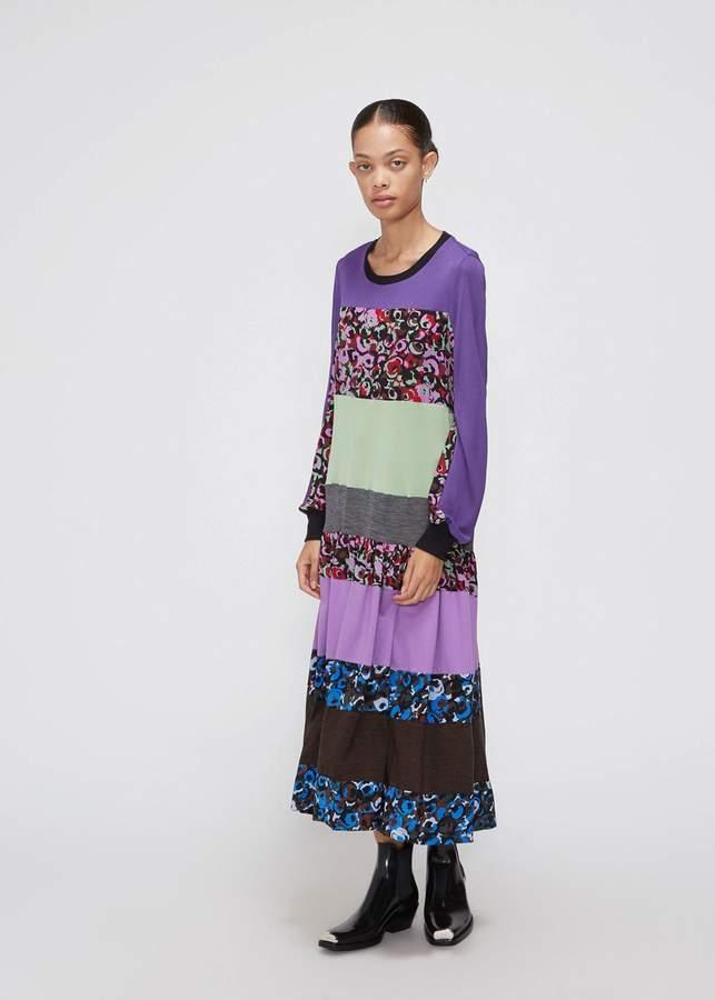 Marni Long Sleeve Stripe Pattern Dress