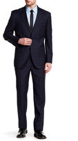 English Laundry Trim Fit Navy Plaid Peak Lapel Two Button Wool Suit