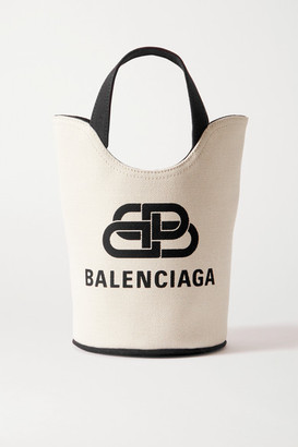 Balenciaga Wave Xs Leather-trimmed Printed Cotton-canvas Tote - Neutral