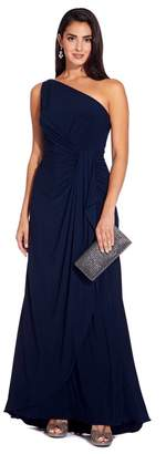 Adrianna Papell Womens Blue One Shoulder Jersey Dress - Blue