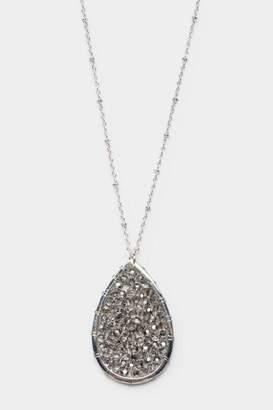 francesca's Camille Woven Beaded Teardrop Pendant Necklace - Silver