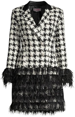 Jovani Feather & Houndstooth Jacket Cocktail Dress