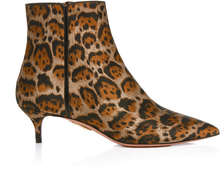Aquazzura Quant Leopard Jacquard Ankle Boots