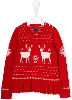 Ralph Lauren Kids Reindeer knit jumper