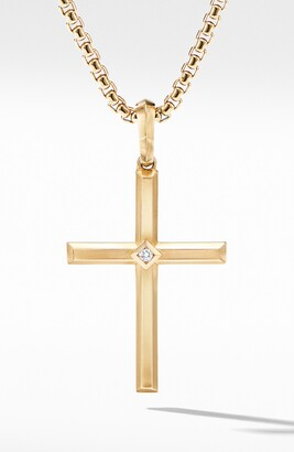 David Yurman Modern Renaissance Cross Pendant in 18K Yellow Gold with Center Diamond