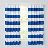 "Set of 2 Cabana Stripe Blue 63"" Blackout Curtains"