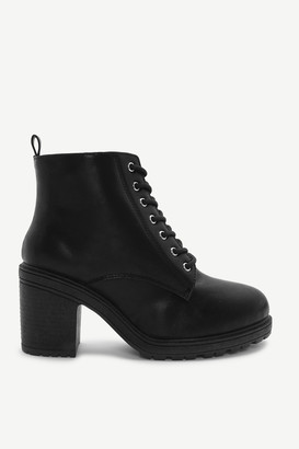 Ardene Faux Leather Track Heel Ankle Boots