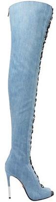 Balmain Campbel Denim Thigh Boots