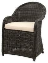 Safavieh Newton All-Weather Wicker Arm Chair in Grey/Beige with Cushion