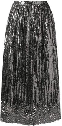 Marco De Vincenzo Pleated Metallic Sheen Skirt
