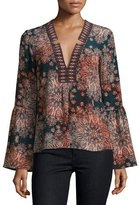 Nanette Lepore Paisley Silk Bell-Sleeve Top, Dark Green
