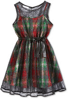 Bonnie Jean Metallic Plaid Special Occasion Dress, Big Girls (7-16)