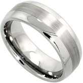 Sabrina Silver 8mm Tungsten 900 Wedding Ring Domed Wide Center Stripe Etching Comfort fit, size 10