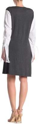 14th Place Knit Poplin Sleeve Dress