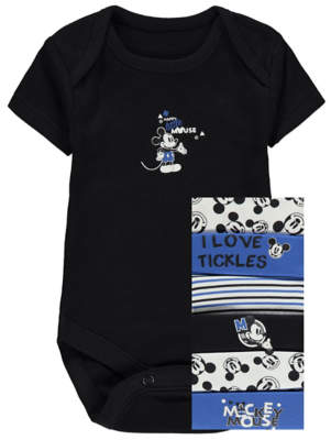 Disney George Mickey Mouse Blue Short Sleeve Bodysuits 7 Pack