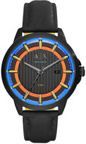 Armani Exchange A|X Men's Black Leather Strap Watch 44mm AX2265
