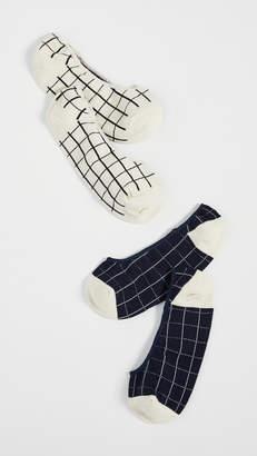 Madewell Windowpane No Show Socks