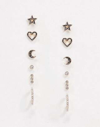 Aldo Biederma heart and stars earring multipack in metallics
