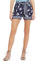 Takara Border Hem Floral Printed Pom-Pom Trim Soft Shorts