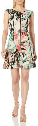 Jax Women's Floral Print Scuba Fit and Flare